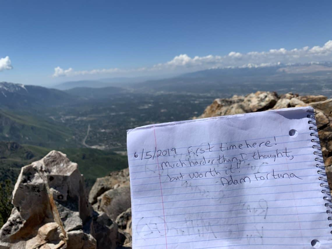 At the top of Mount Olympus in Salt Lake City at 9,000 ft up.