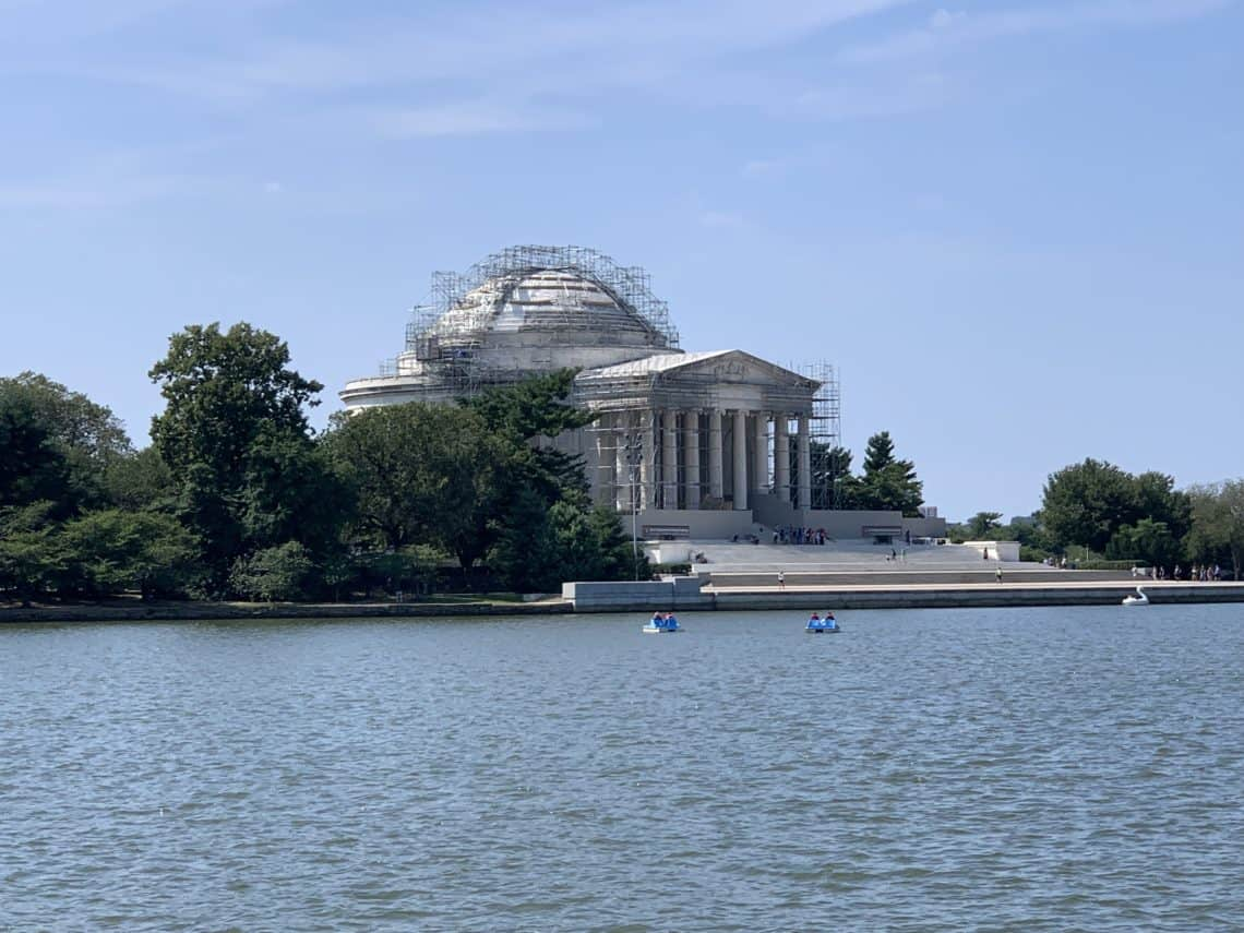 The Jefferson Memorial is still open even with roof repairs in progress.