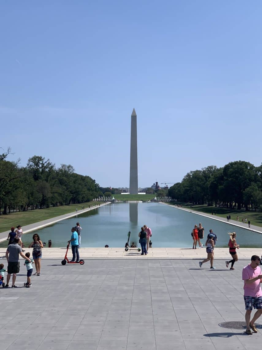 Reflecting pool and the Washington Monument.