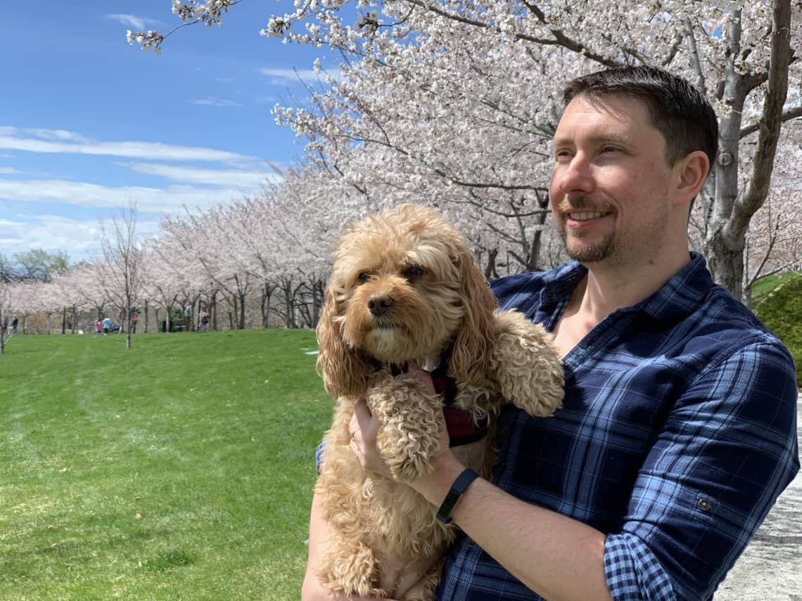Adam and Lily with Cherry Blossoms